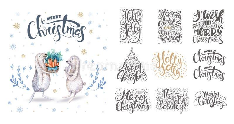 Χαρούμενα Χριστούγεννα που γράφει με snowflakes και τα λαγουδάκια Χέρι διανυσματική απεικόνιση