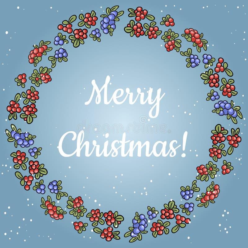 Χαρούμενα Χριστούγεννα που γράφει σε ένα στεφάνι της κόκκινης και μπλε ζωηρόχρωμης διακόσμησης μούρων απεικόνιση αποθεμάτων