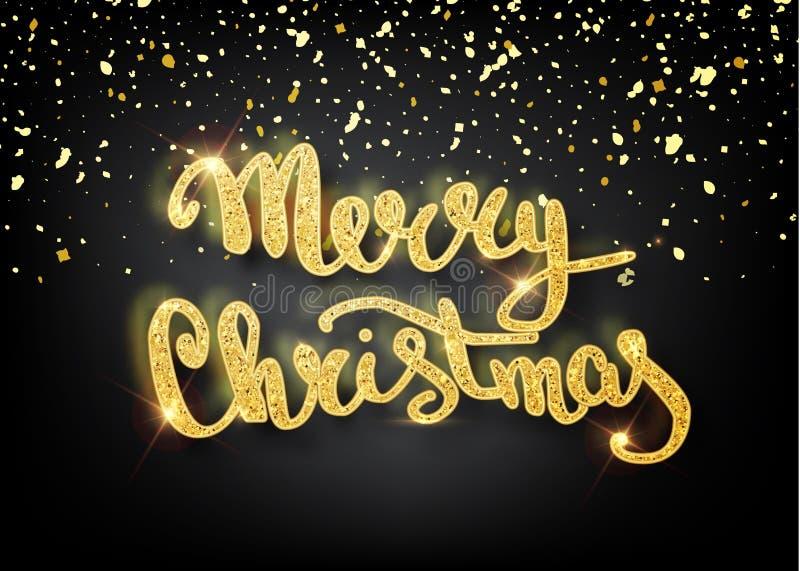Χαρούμενα Χριστούγεννα που γράφει τη ευχετήρια κάρτα για τις διακοπές Χρυσό να λάμψει Διακόσμηση διακοσμήσεων με με snowflake το  διανυσματική απεικόνιση