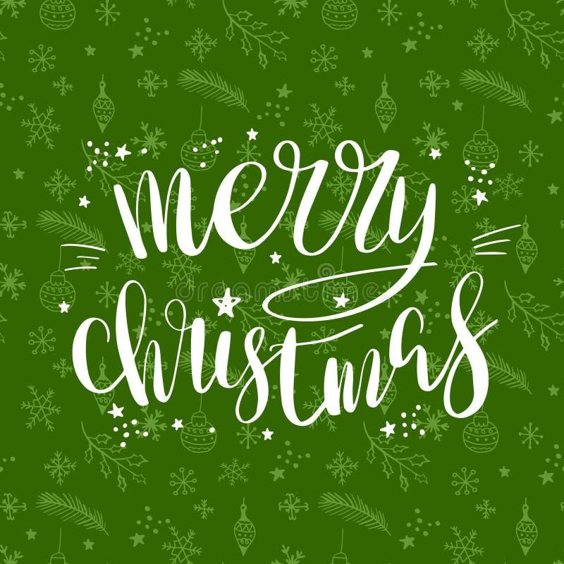 Χαρούμενα Χριστούγεννα που γράφει τη χειρόγραφη φράση Διανυσματικό σχέδιο αφισών ή ευχετήριων καρτών καλλιγραφίας ελεύθερη απεικόνιση δικαιώματος