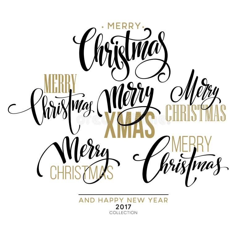 Χαρούμενα Χριστούγεννα που γράφει το σύνολο σχεδίου επίσης corel σύρετε το διάνυσμα απεικόνισης διανυσματική απεικόνιση