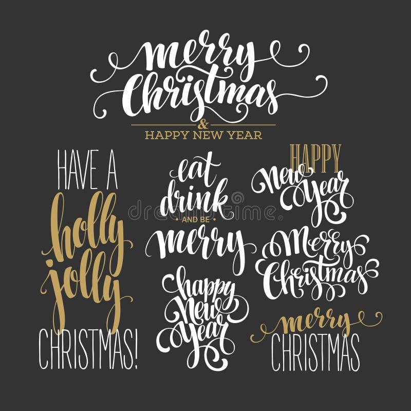 Χαρούμενα Χριστούγεννα που γράφει το σύνολο σχεδίου διάνυσμα ελεύθερη απεικόνιση δικαιώματος