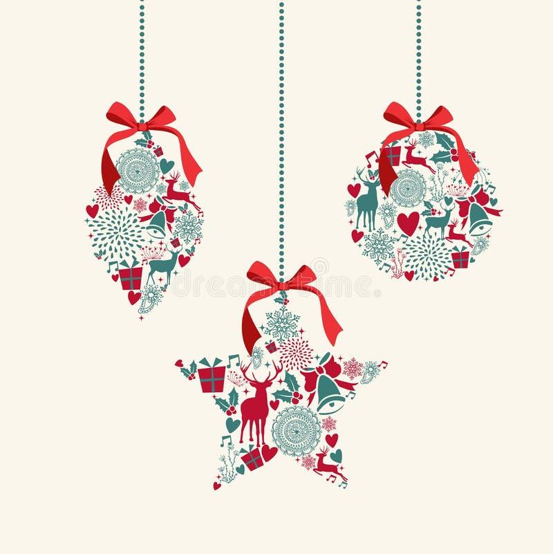 Χαρούμενα Χριστούγεννα που κρεμά το compositi στοιχείων μπιχλιμπιδιών διανυσματική απεικόνιση