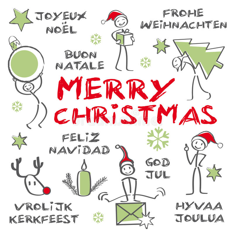Χαρούμενα Χριστούγεννα, πολύγλωσση κάρτα Χριστουγέννων διανυσματική απεικόνιση