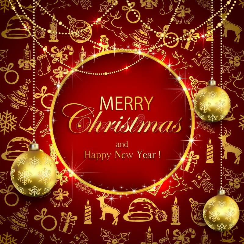 Χαρούμενα Χριστούγεννα στο κόκκινο υπόβαθρο με τη χρυσά διακόσμηση και το bau απεικόνιση αποθεμάτων