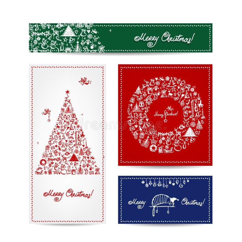 Χαρούμενα Χριστούγεννα, σύνολο καρτών με το χειμερινό δέντρο ελεύθερη απεικόνιση δικαιώματος