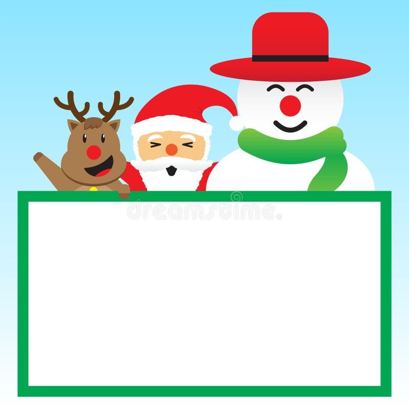 Χαρούμενα Χριστούγεννα - τρεις φίλοι και λευκός πίνακας απεικόνιση αποθεμάτων