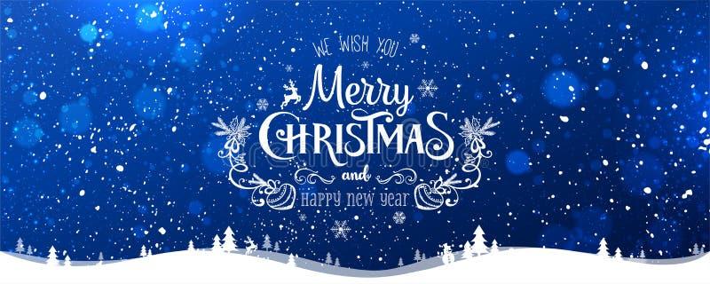 Χαρούμενα Χριστούγεννα τυπογραφική στο μπλε υπόβαθρο χειμερινών Χριστουγέννων με snowflakes, τοπίο, αστέρια απεικόνιση αποθεμάτων