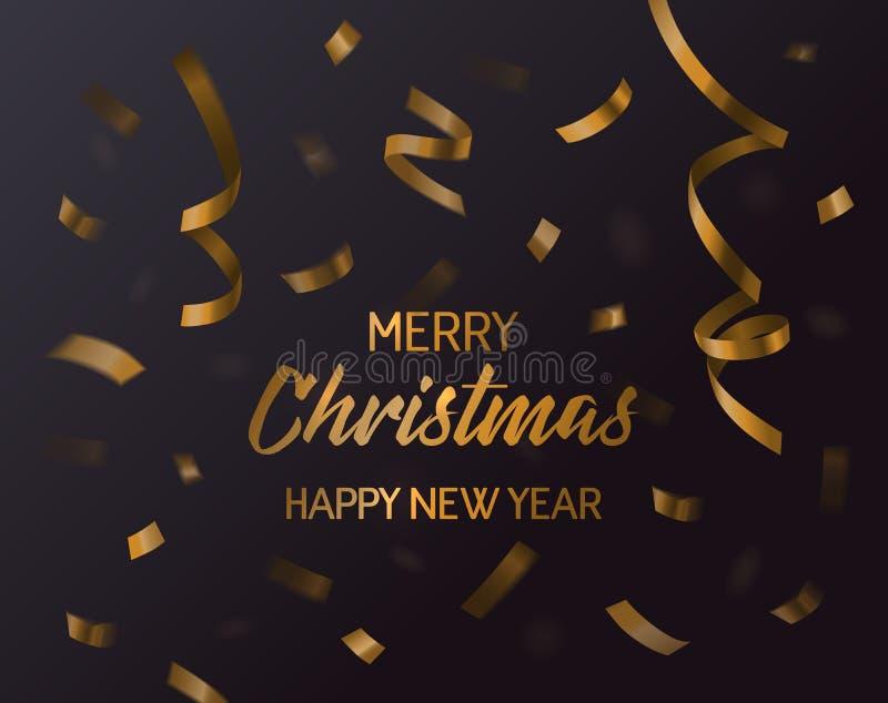 Χαρούμενα Χριστούγεννα, Χριστούγεννα και νέο κομφετί έτους 2017 Μειωμένο έγγραφο στροβίλου και curvy κορδέλλα, κυματιστό δώρο ή π απεικόνιση αποθεμάτων