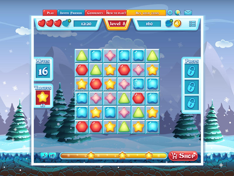 Χαρούμενα Χριστούγεννα GUI - αγωνιστικός χώρος για το παιχνίδι στον υπολογιστή διανυσματική απεικόνιση