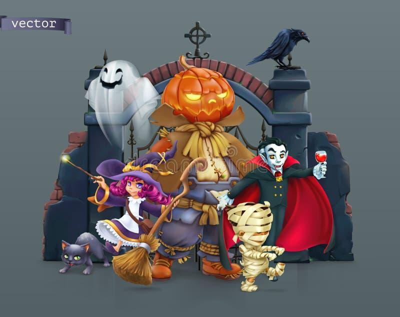 Χαρούμενες Απόκριες Κολοκύθα, μάγισσα, μούμια, βαμπίρ απεικόνιση διανύσματος 3d απεικόνιση αποθεμάτων