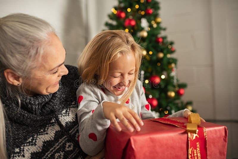 Χαρούμενες στιγμές Χριστουγέννων στην οικογένεια στοκ φωτογραφίες με δικαίωμα ελεύθερης χρήσης