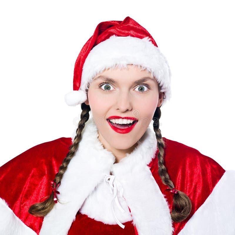 χαρούμενη έκπληκτη santa γυναί&ka στοκ εικόνες με δικαίωμα ελεύθερης χρήσης
