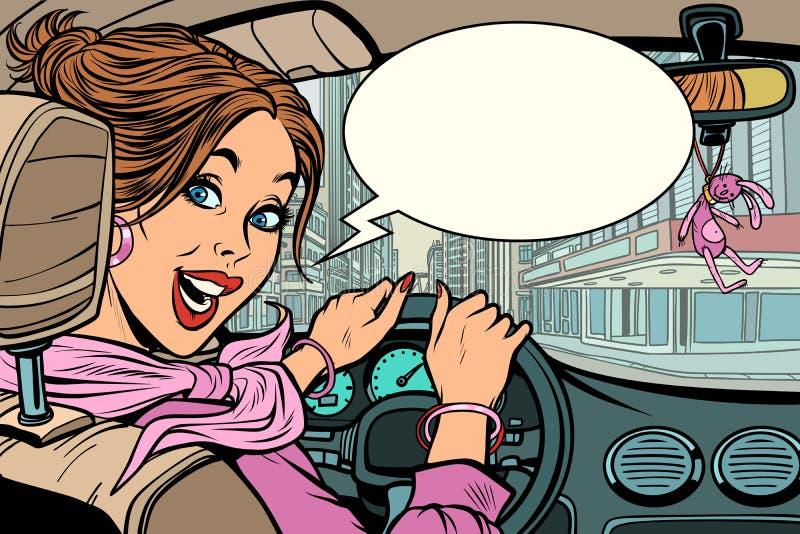 Χαρούμενη γυναίκα πίσω από τη ρόδα ενός αυτοκινήτου απεικόνιση αποθεμάτων