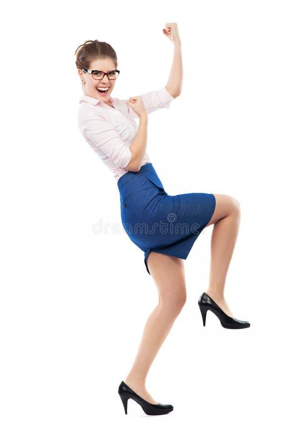 Χαρούμενη επιχειρησιακή γυναίκα στοκ φωτογραφία