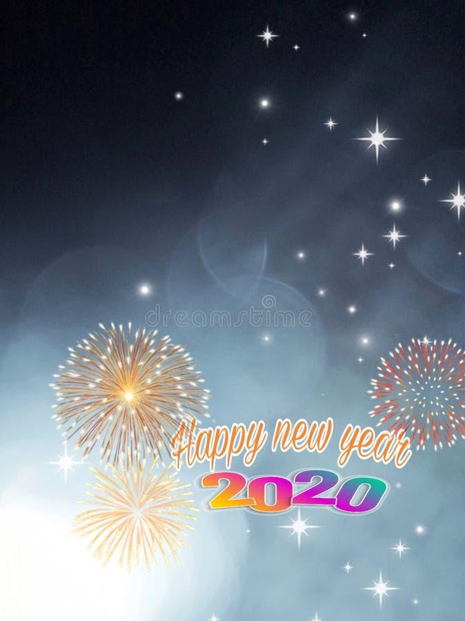Χαρούμενη κάρτα για το νέο έτος 2020 με bokeh και πυροτεχνήματα απεικόνιση αποθεμάτων