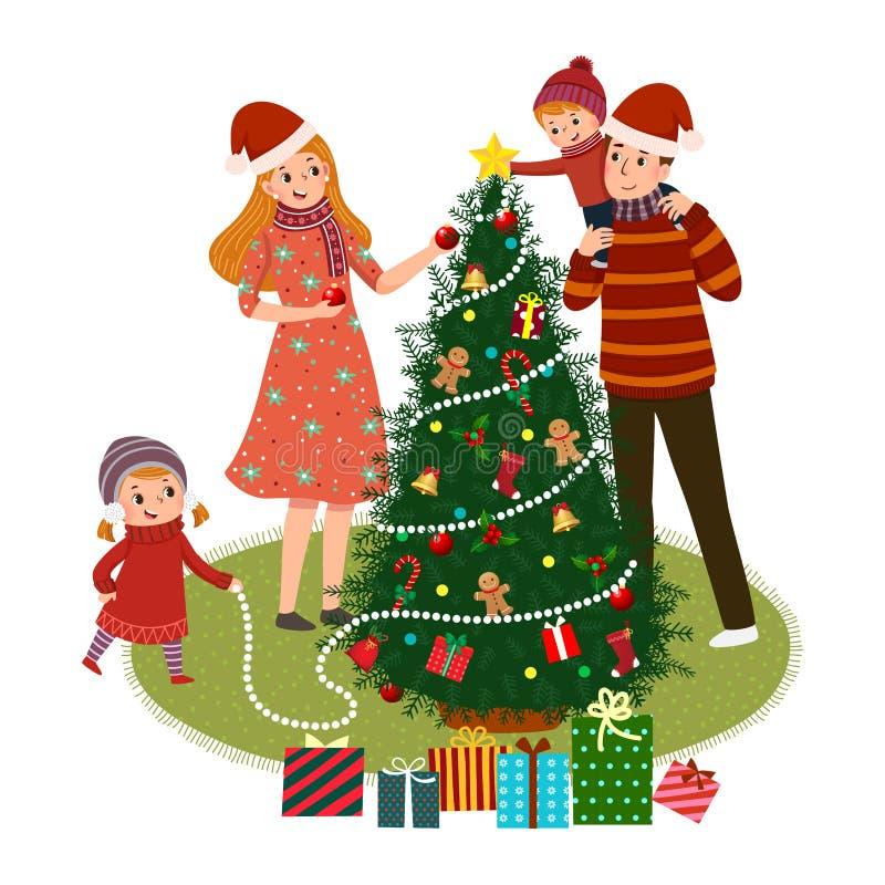 Χαρούμενη οικογένεια που διακοσμεί χριστουγεννιάτικο δέντρο Η έννοια των Χριστουγέννων και της Πρωτοχρονιάς διανυσματική απεικόνιση