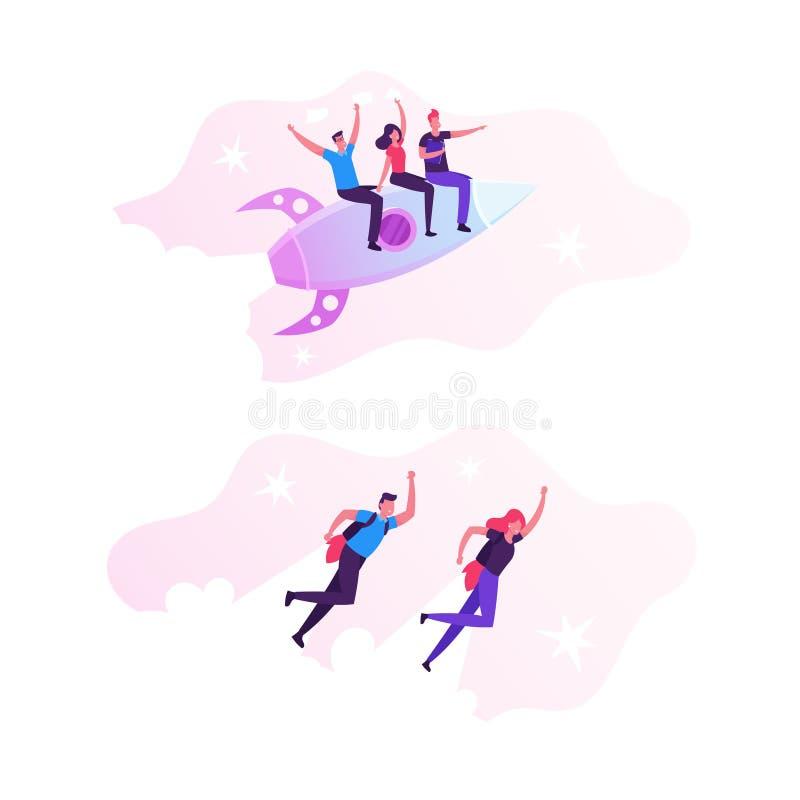Χαρούμενοι επιχειρηματικοί άνδρες και γυναίκες που πετούν με Jet Pack στο πίσω μέρος Υπάλληλοι γραφείου πετάνε με ρουκέτα πάνω στ απεικόνιση αποθεμάτων