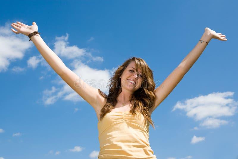 χαρούμενος έφηβος κοριτσιών στοκ εικόνα