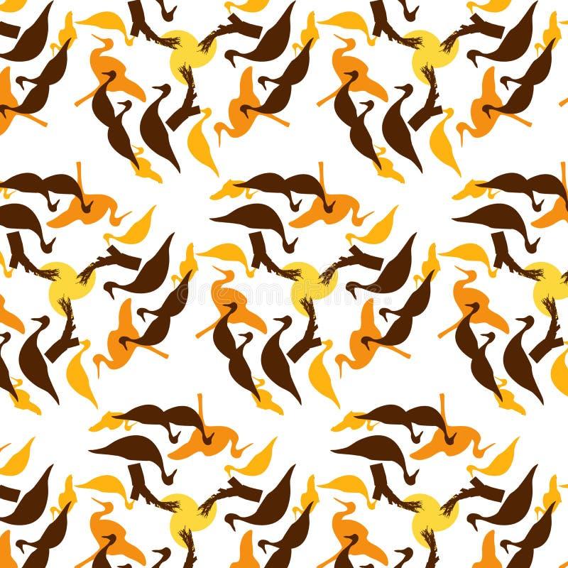 Χαρούμενο ηλιόλουστο φωτεινό εύθυμο σχέδιο άνοιξη με τα πουλιά απεικόνιση αποθεμάτων