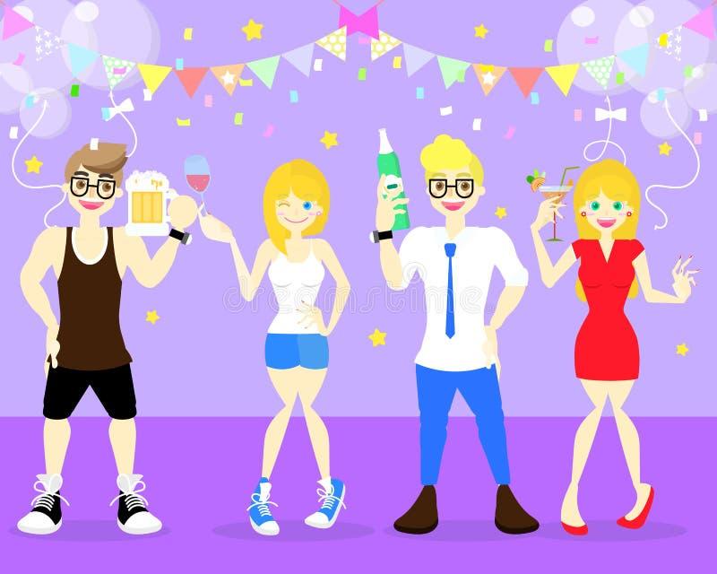 χαρούμενο οινόπνευμα εκμετάλλευσης ανδρών και γυναικών όπως το μπουκάλι μπύρας, κρασί, κοκτέιλ, σαμπάνια που χορεύει στην έννοια  απεικόνιση αποθεμάτων
