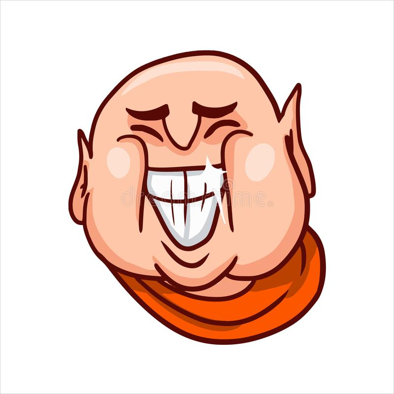 Χαρούμενο πρόσωπο Buddha's με ένα μεγάλο ανοικτό στόμα χαμόγελου, που παρουσιάζει τα δόντια και χαμόγελα διανυσματική απεικόνιση