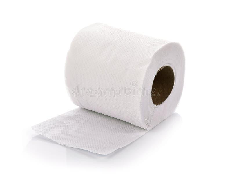 Χαρτί τουαλέτας στην άσπρη ανασκόπηση στοκ εικόνα