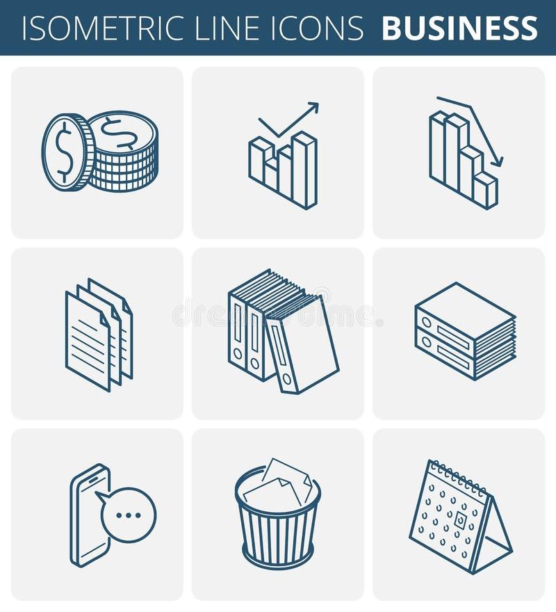 Χαρτικά επιχειρήσεων και γραφείων Διανυσματικό isometric SE εικονιδίων περιλήψεων απεικόνιση αποθεμάτων