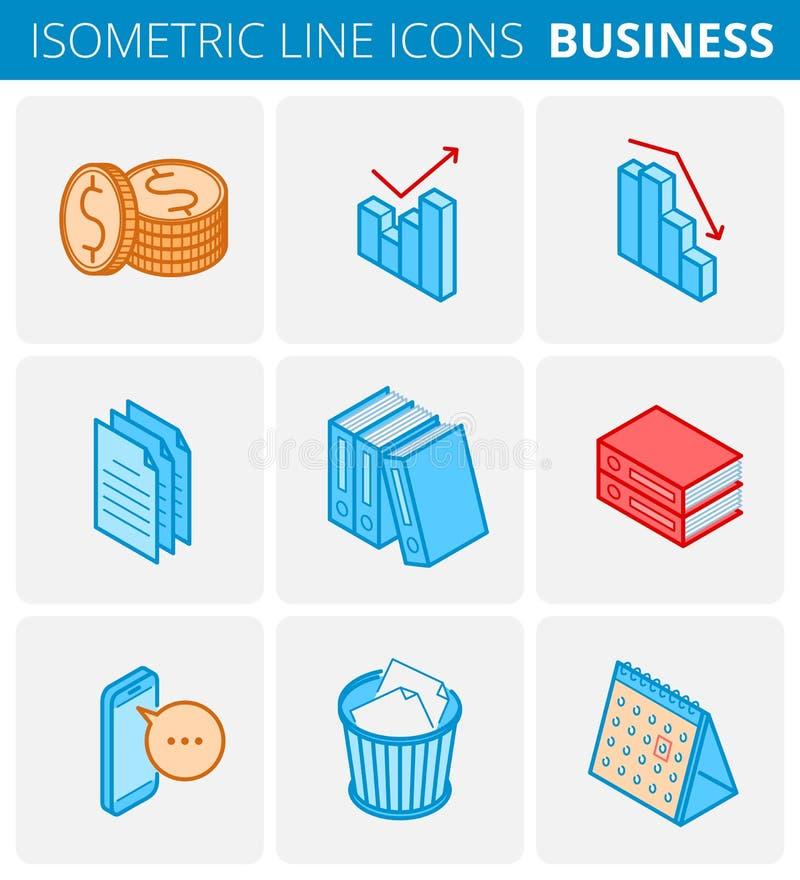 Χαρτικά επιχειρήσεων και γραφείων Χρωματισμένη διανυσματική isometric περίληψη απεικόνιση αποθεμάτων