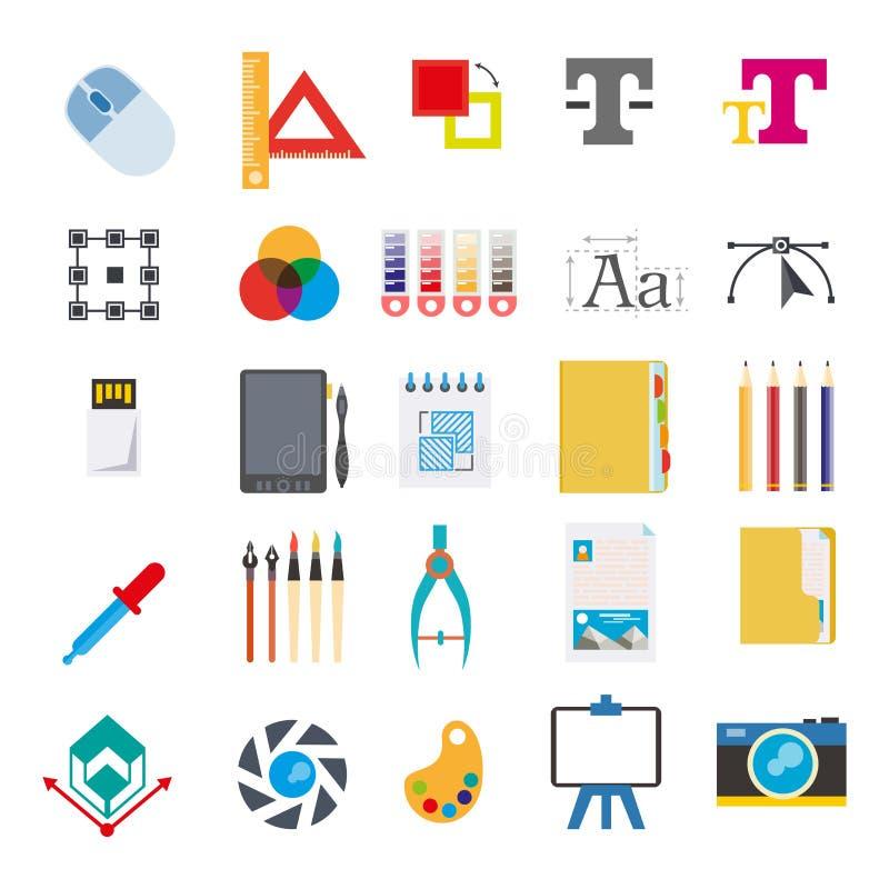 Χαρτικά και εργαλεία για στο διανυσματικό σύνολο υπολογιστών διανυσματική απεικόνιση