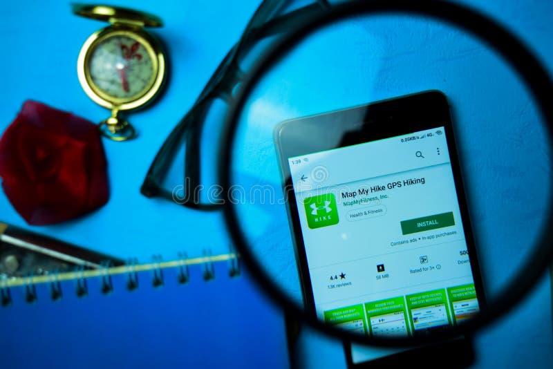 Χαρτογραφήστε την πεζοπορία dev app ΠΣΤ πεζοπορώ μου με την ενίσχυση στην οθόνη Smartphone στοκ εικόνες με δικαίωμα ελεύθερης χρήσης