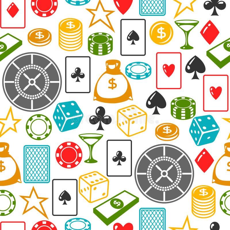 Χαρτοπαικτική λέσχη που παίζει το άνευ ραφής σχέδιο με τα αντικείμενα παιχνιδιών απεικόνιση αποθεμάτων