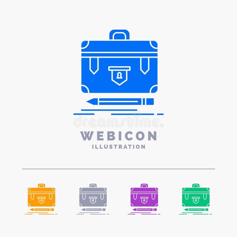χαρτοφύλακας, επιχείρηση, οικονομική, διαχείριση, χαρτοφυλάκιο 5 πρότυπο εικονιδίων Ιστού Glyph χρώματος που απομονώνεται στο λευ απεικόνιση αποθεμάτων