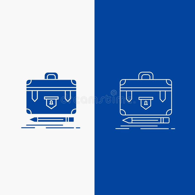 χαρτοφύλακας, επιχείρηση, οικονομικός, διαχείριση, γραμμή χαρτοφυλακίων και κουμπί Ιστού Glyph στο μπλε κάθετο έμβλημα χρώματος γ ελεύθερη απεικόνιση δικαιώματος