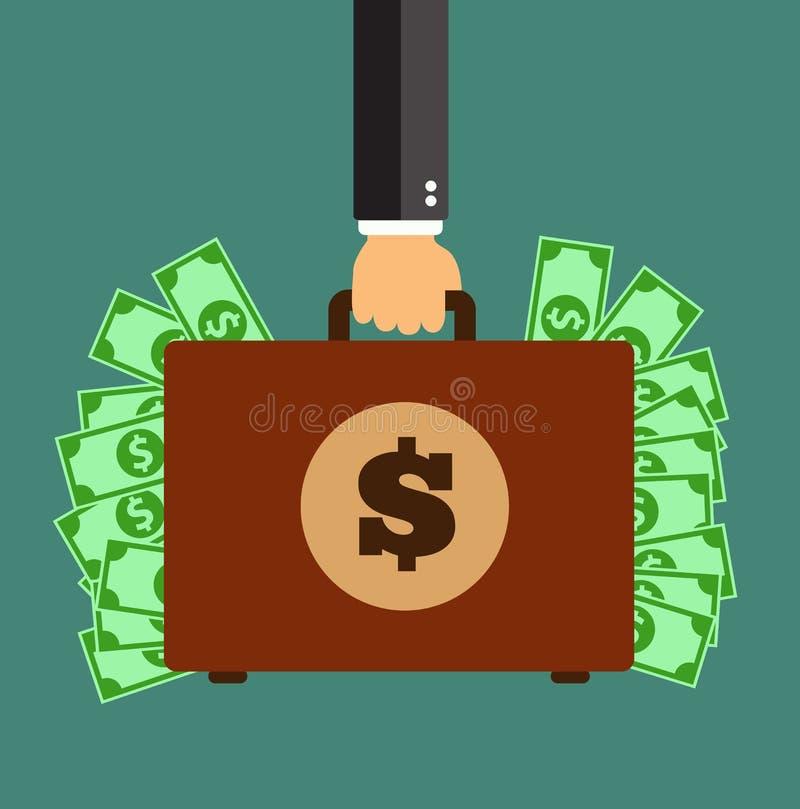 Χαρτοφύλακας εκμετάλλευσης χεριών επιχειρηματιών με τα χρήματα διανυσματική απεικόνιση