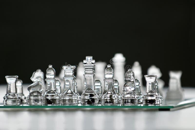 Χαρτόνι σκακιού γυαλιού στοκ φωτογραφία