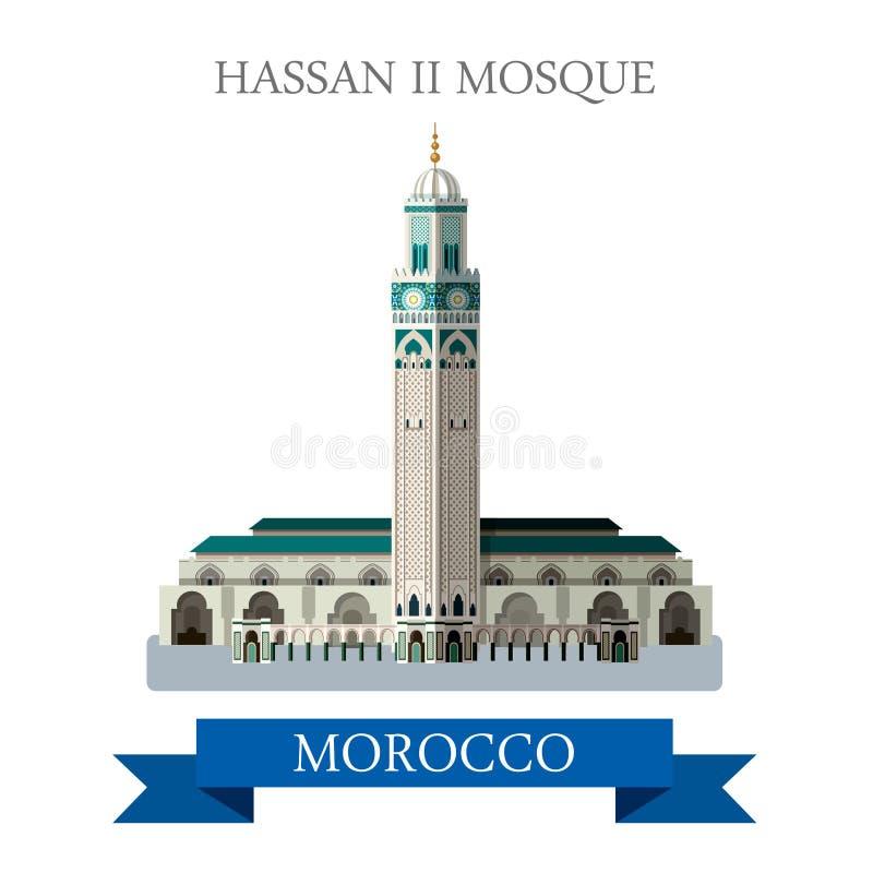Χασάν ΙΙ μουσουλμανικό τέμενος στο Μαρόκο Επίπεδο διάνυσμα ι κινούμενων σχεδίων διανυσματική απεικόνιση