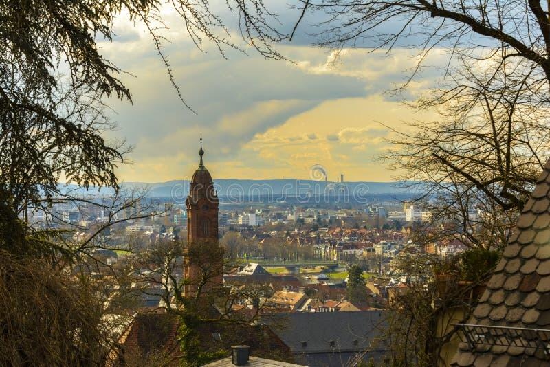 Χαϋδελβέργη, πανέμορφη εικονική παράσταση πόλης στοκ εικόνες