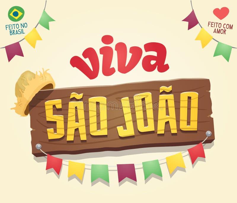 Χαλάζι Άγιος John Joao Σάο Viva - βραζιλιάνο κόμμα Ιουνίου δροσερό αυτοί διανυσματική απεικόνιση