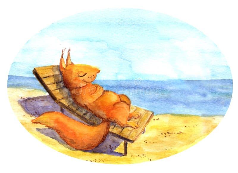 Χαλάρωση σκιούρων Watercolor στην παραλία ελεύθερη απεικόνιση δικαιώματος