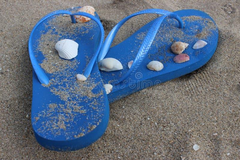 Χαλαρωμένες μπλε σαγιονάρες στοκ εικόνες