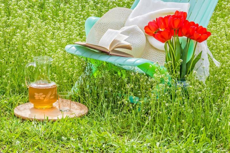 Χαλαρώστε στον ανθίζοντας κήπο μια ηλιόλουστη ημέρα στοκ φωτογραφίες με δικαίωμα ελεύθερης χρήσης