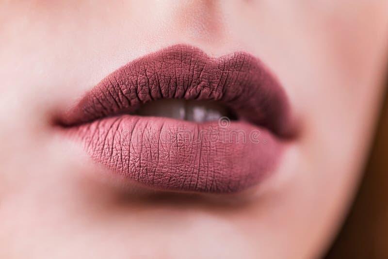 Χείλια γυναικών μόδας ομορφιάς με φυσικό Makeup Κραγιόν μεταλλινών Στενός επάνω προσώπου κοριτσιών ομορφιάς Nude χρώματα χείλια π στοκ εικόνες