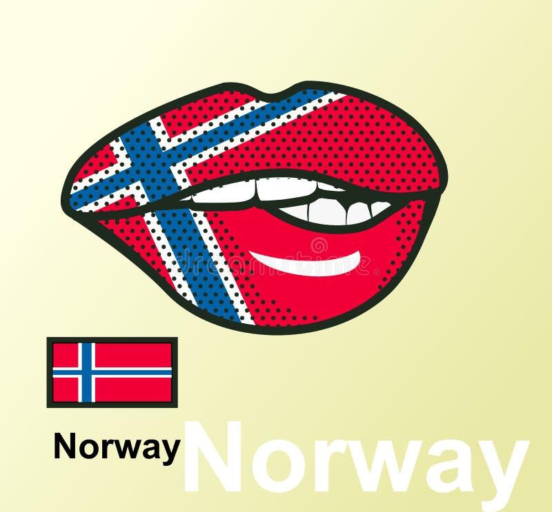 Χείλια με τη εθνική σημαία ελεύθερη απεικόνιση δικαιώματος