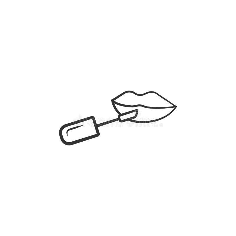 Χείλια με το εικονίδιο χειλικών βουρτσών Στοιχείο του εικονιδίου γυναικών makeup για την κινητούς έννοια και τον Ιστό apps Τα λεπ απεικόνιση αποθεμάτων