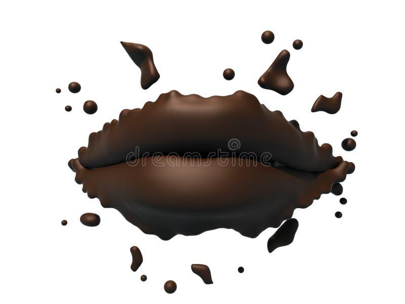 χείλια σοκολάτας διανυσματική απεικόνιση