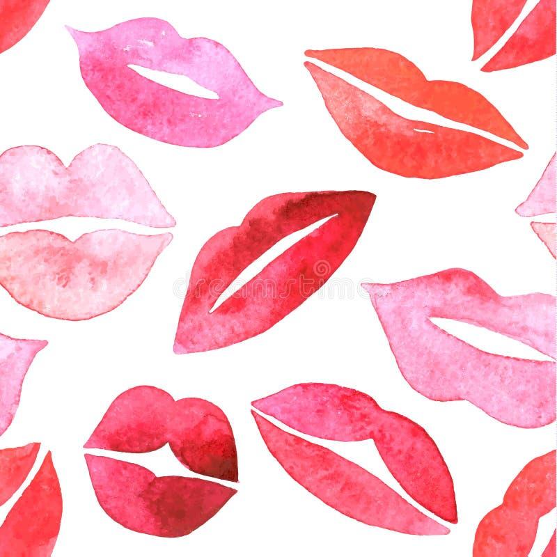 χείλια που τίθενται καθορισμένο watercolor διανυσματική απεικόνιση
