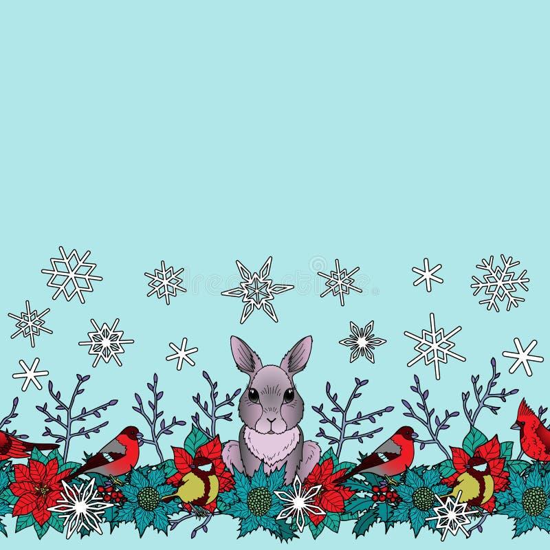 Χειμερινά άνευ ραφής σύνορα κουνελιών και πουλιών απεικόνιση αποθεμάτων
