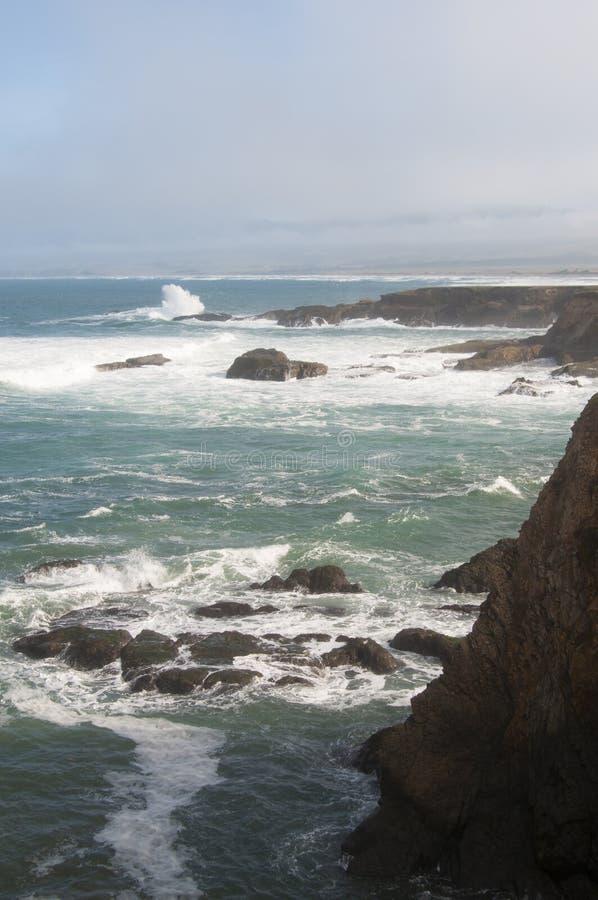 Χειμερινά ακρωτήρια ακτών Mendocino στοκ φωτογραφία