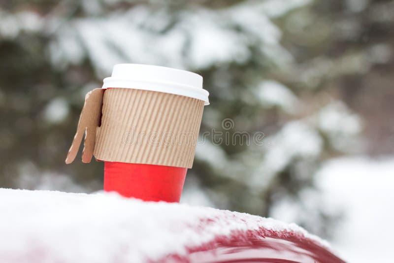 Χειμερινά γάντια στο χιόνι με την επιγραφή χιονιού Επίπεδος βάλτε τη λαμπρή σύσταση στοκ εικόνα με δικαίωμα ελεύθερης χρήσης